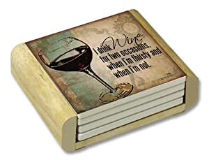 CounterArt I Drink Wine Absorbent Coasters in Wooden Holder, Set of 4
