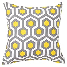 "Evei Beehive Hexagon Pattern Yellow Cotton Home Decorative Throw Pillow Case / Cushion Cover Square 16"" 18"" 20"" Choice (18""x18""inch(45x45cm))"