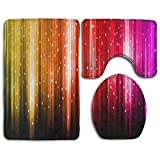 NEW Rainbow Lights Pattern Popular Bath 3-Piece Rug Set For Unisex