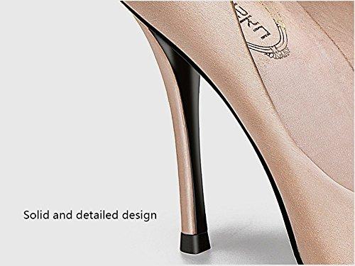 avec 6 Satin 10cm des GAIHU souligné et Champagne les mariage Chaussures Simple Carré filles États Femmes Heeled High Unis Champagne10cm Boucle l'Europe 5cm Frais qxqvaw