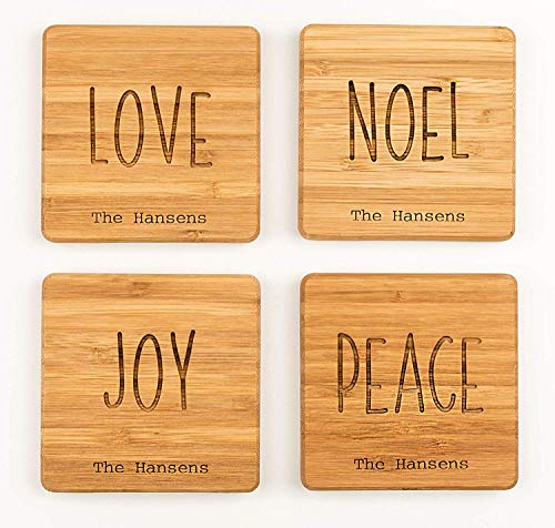 Personalized Wedding Gifts and Bridal Shower Gifts - Monogram Wood Coasters for Drinks (Set of 4, Love, Noel, Joy, Peace Design)