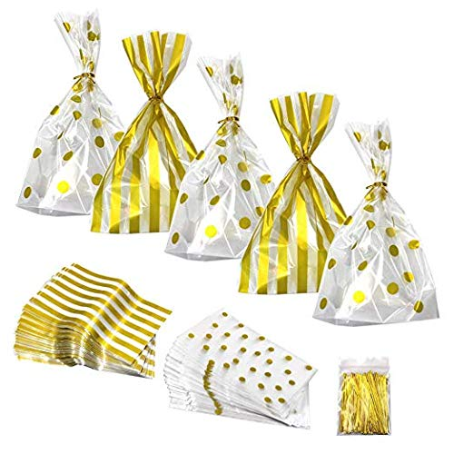 100 Pieces Gold Polka Dot and Gold Striped Clear Plastic Treat Bags for Candy Snack Wrapping with200 Pieces Twist Ties for Party Favor for $<!--$12.59-->