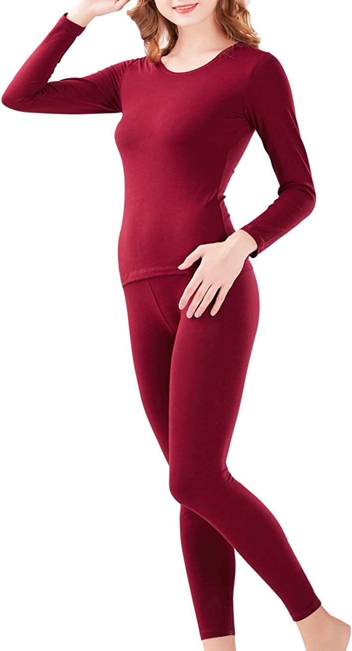 Hamour Womens Long Johns Thermal Underwear Set Top and Bottom Base Layer