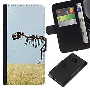 All Phone Most Case / Oferta Especial Cáscara Funda de cuero Monedero Cubierta de proteccion Caso / Wallet Case for HTC One M7 // Skeleton Dinosaur Field Nature Grass Sky
