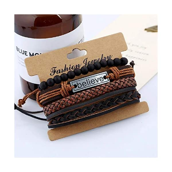 University Trendz Natural Stone Beads Inspirational Believe Words Metal Genuine Leather Bracelet for Men Casual Wear(Set of 4)