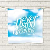 smallbeefly Quote Hand Towel Aqua Never Stop Dreaming Phrase Fluffy Cloudy Sky Future Imagination Hope Graphic Quick-Dry Towels Blue White Size: W 20'' x L 27''