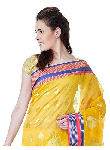 IndusDiva-Womens-Yellow-Super-Net-Saree