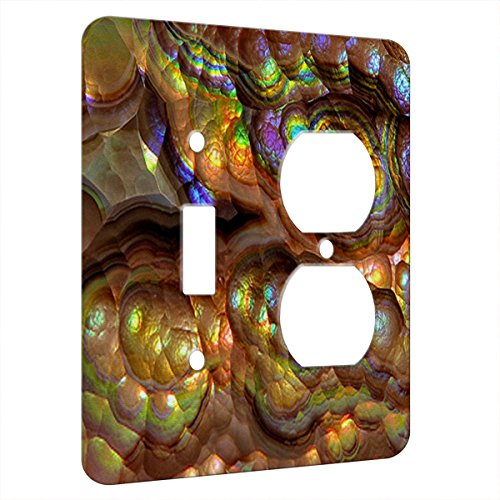 (Crystal Rainbow Opulence - Decor Switch Plate Cover Metal (2 Gang 1 Toggle 1 Duplex Combo Wall Plate))