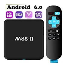 2017 Newest Model Globmall M8S-II Android 6.0 TV Box with 2GB RAM 8GB ROM, 2.4GHz&5.0GHz, Bluetooth 4.0, WiFi, 1000M LAN, and True 4K Playing