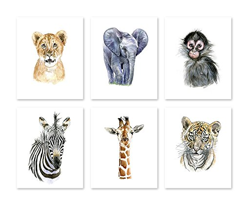 Themes Animal Nursery - A1 Nursery Wall Art Decor Poster - Watercolor Safari Baby Animal Prints - Wildlife Paintings -Jungle Zoo Room -  African Theme for Kids Babies New Born  (8x10)