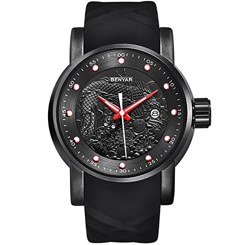 - BENYAR Quartz Waterproof Watches Harajuku Style Dragon Sculpture Silicone Band Strap Wrist Watch for Men (Black)