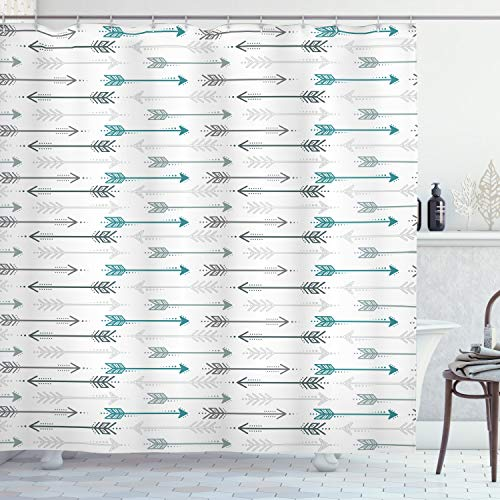 Ambesonne Teal Shower Curtain, Retro Arrow Pattern in Horizontal Line Heading to Opposite Directions Art Print, Cloth Fabric Bathroom Decor Set with Hooks, 70 Long, Grey Teal