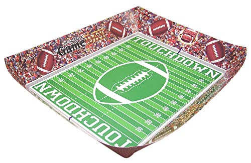 Football Themed Game Day Folding Paper Party Snack Serving Tray, 12 Inch, Pack of -
