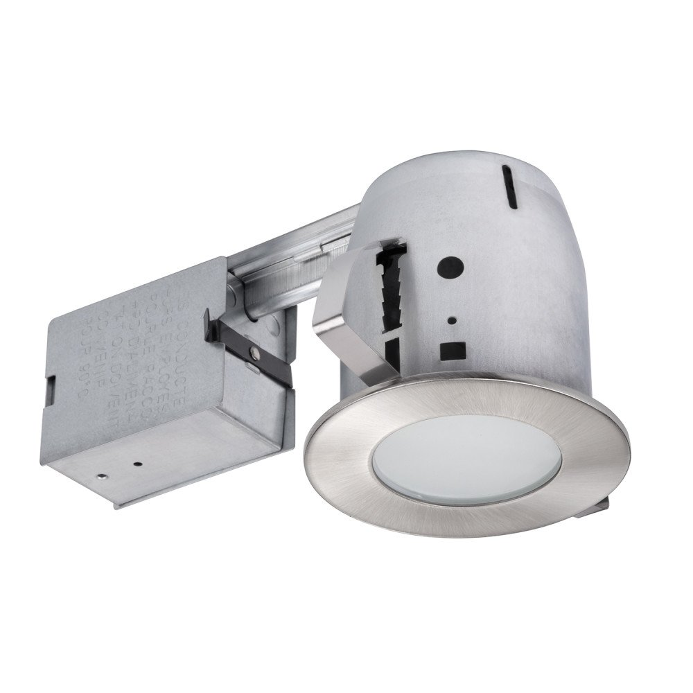 Globe Electric 4'' Damp Rated Shower Recessed Lighting Kit Dimmable Downlight, Brushed Nickel Finish, Round Tempered Frosted Glass, Easy Install Push-N-Click Clips, 90664