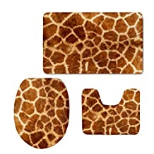 Bigcardesigns Giraffe Design Bathroom Anti-Slip Rug Set