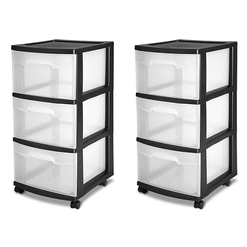 3-Drawer Storage Cart, Clear with Black Frame (2-Pack) with ebook