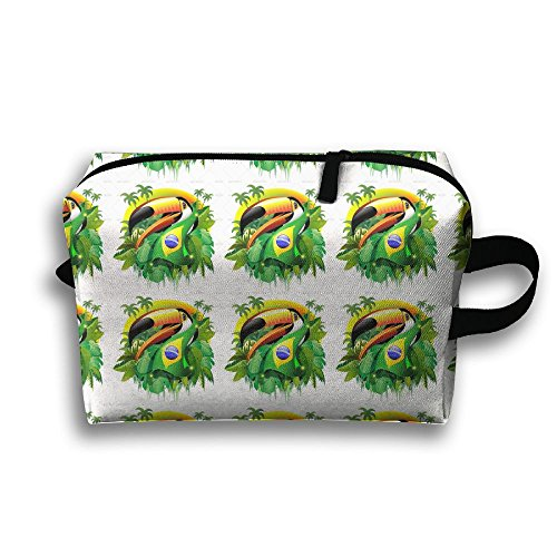 pengyong Toucan Printed with Brazilian Flag Small Travel Toiletry Bag Super Light Toiletry Organizer for Overnight Trip Bag