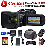 Canon Vixia HF G60 UHD 4K Camcorder (Black) (3670C002) with Padded Case, 64GB Memory Card and More - Base Bundle