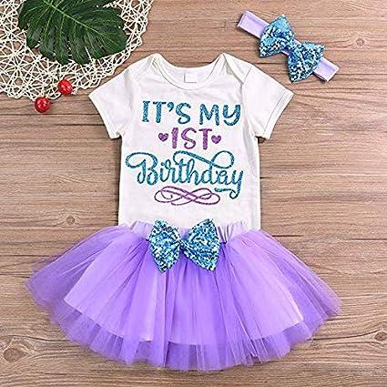 YAYAbaby Newborn Baby Girls Its My 1st Birthday Infant Outfits Romper Shiny Printed Sequin Bowknot Tutu Skirt Dress Purple