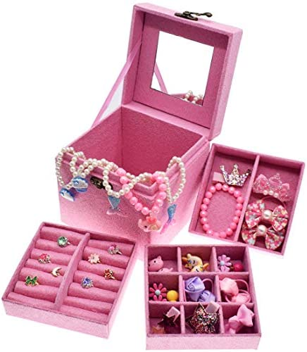 ShaqMars Little Girl Kids 3 Layer Lint Jewelry Box with Mirror and 35 Pieces Girl Princess Jewelry Dress Up Accessories Toy Playset Set