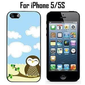 Cute Owl Custom Case/ Cover/Skin *NEW* Case for Apple iPhone 5/5S - Black - Rubber Case (Ships from CA) Custom Protective Case , Design Case-ATT Verizon T-mobile Sprint ,Friendly Packaging - Slim Case