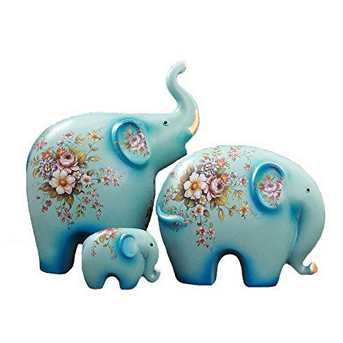 Feng Shui Ceramic Elephant Family Wealth Lucky Statue/Figurine,Home Decor Housewarming Gift