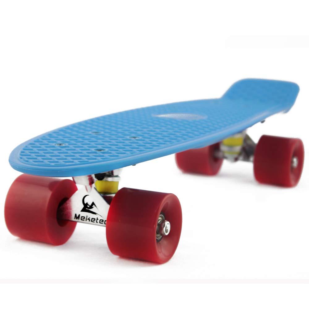 MEKETEC Skateboards Beginners 22 inch Mini Cruiser Girl Skateboard for Kids Boys Youth Beginners Child Toddler Teenagers Adults Paw Patrol Dog (Blue Red)