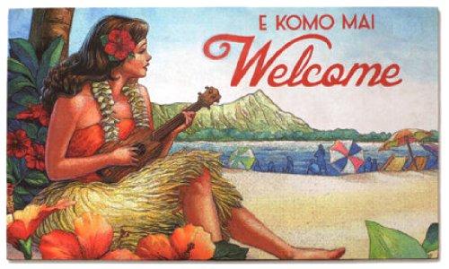 (HI Vintage Style Ukulele Hula Girl Heavyweight Hawaiian Doormat )