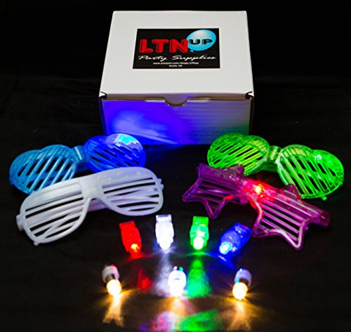 [LED Party Pack by LTNUP Party, Multi Color Assorted box with 20 LED Balloon lights, 32 LED Finger lights (R/W/B/G) and 4 LED Shutter sunglasses, Light the Night Up with this awesome LED Party] (80s 90s Costume Ideas)