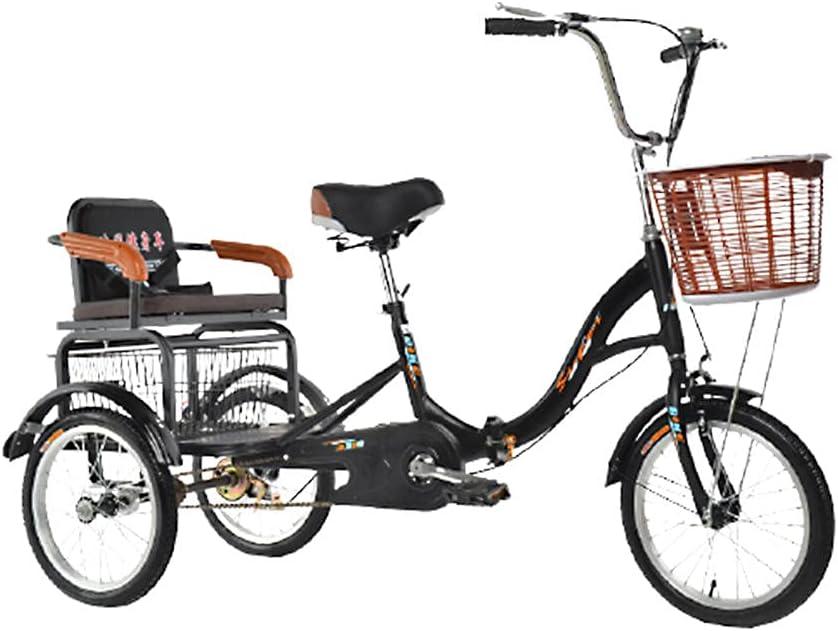 QQJL 16~20 Pulgadas Triciclo Plegable Bicicleta 3 Ruedas Tres Ruedas Bicicletas de montaña para Hombres Mayores Adultos Mujeres con Cesta y Asiento Trasero-Cadena única Asiento de 16 Pulgadas - Negro