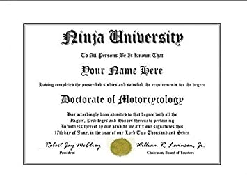 ninja university degree custom novelty diploma fake doctorate degree certificate gag gift