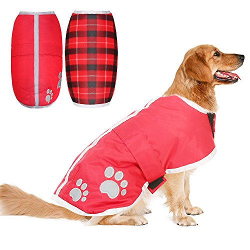 Reversible Dog Winter Clothes Waterproof Reflective Cold Weather Jacket Medium Red by PUPTECK Fashion Pet Plaid Blanket