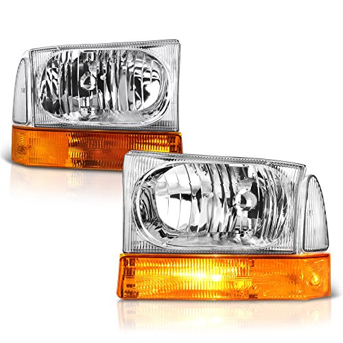 [For 1999-2004 Ford Excursion & F-250 F-350 Super Duty Pickup Truck] Chrome Housing Headlight & Amber Turn Signal Corner Lamp Assembly Set, Driver & Passenger Side