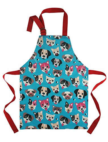 Cute Apron for Toddler - Waterproof PVC Pinny Printed in Unique Fun Dog Print for Little Cooks and Artists Age 2- 4 (small, blue)