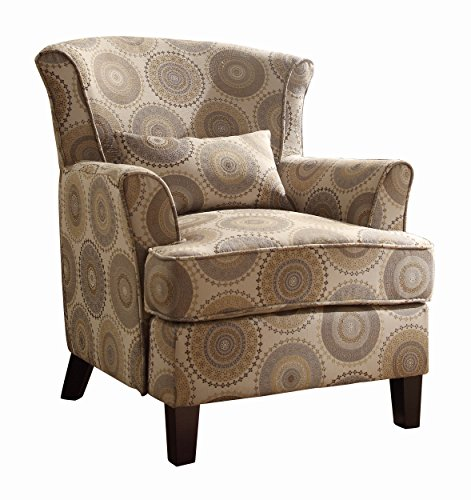 Homelegance Nicolo Wing Back Accent Chair with Pillow in Grey and Brown Medallion Print