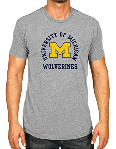 Campus Colors Michigan Wolverines Adult NCAA Team Spirit T-Shirt - Gray, Small