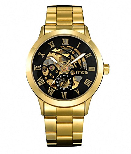 ChinGet Brand Men Skeleton Mechanical Watch Gold Men's Luxury Fashion Automatic Wristwatch
