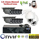 (US) GW Security 16 Camera 1080P PoE IP CCTV Kit : 14 x 1080P IP PoE 2.8-12mm Dome Cameras + 2 x 1080P Auto Tracking IP PTZ 4.7 ~ 94mm 20 times Zoom + 1x 16 Channel 1080P NVR + 1 x 4TB HDD *** High Definition Video Surveillance For Your Home or Business