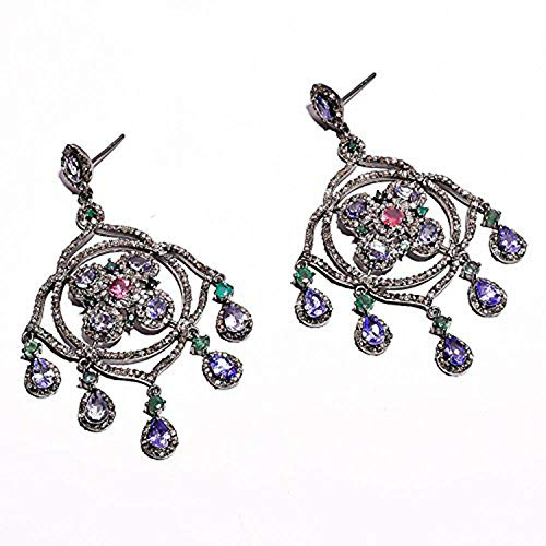 Diamond Tanzanite Ruby Emerald Pave Jewelry Solid 925 Sterling Silver Earrings 2.6