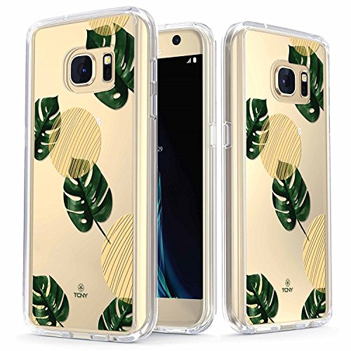Samsung Galaxy S7 Case - True Color Clear-Shield Green Leaves [Flower Power] Printed on Clear Back - Perfect Soft and Hard Thin Shock Absorbing Dustproof Full Protection Bumper Cover