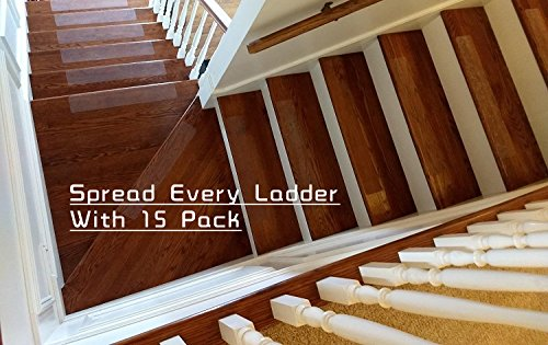 15-Pack(4''x 24''),Non-Slip Clear Adhesive Stair Treads,Translucent Safety Stair Traction Hardwood Treads,PVC-FREE Anti Slip Clear Adhesive Strips,Baby/Elder/Pet Safety,Indoor/Outdoor by Any Beauty (Image #4)