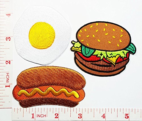 Fried egg Hamburger with HOT DOG Cooking Chef Kid patch Jacket Polo T-shirt DIY Applique Embroidered Sew Iron on patch (Hot Dog Iron)