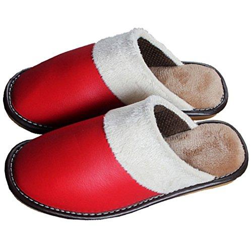 Pantofole Rosse Morbide Di Casa Samsay Unisex In Pelle Pu