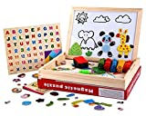 Wooden Magnetic Board Puzzle Toddler Toys Games, Double Sided Jigsaw &Drawing Sketchpad Writing Dry Erase Board Chalkboard Educational Toys for Boys Girls Kids