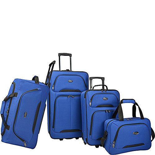 - U.S. Traveler Vineyard 4-Piece Softside Luggage Set (Blue)
