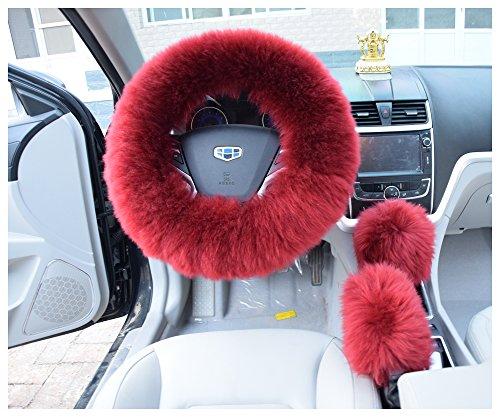 U&M 1 Set 3 Pcs Winter Warm Australia Pure Wool Sheepskin Soft Fluffy Handbrake Cover Gear Shift Cover Steering Wheel Cover 14.96