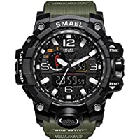Men's Military Analog Digital Watch Display Sports Watches Multifunctional Large Wrist Watches for Men (Army Green)