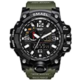 Mens Military Waterproof Digital Watch Analog Display Sports Watches Multifunctional Wrist Watches for Men (Army green)