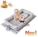 Brandream Baby Nest Bed Lounger, Grey Baby/Newborn Bassinets Bed, Fox Baby Portable Crib Super Soft Organic Cotton and Breathable Newborn Lounger with Floral - Perfect for Co-Sleeping, 0-24 Months