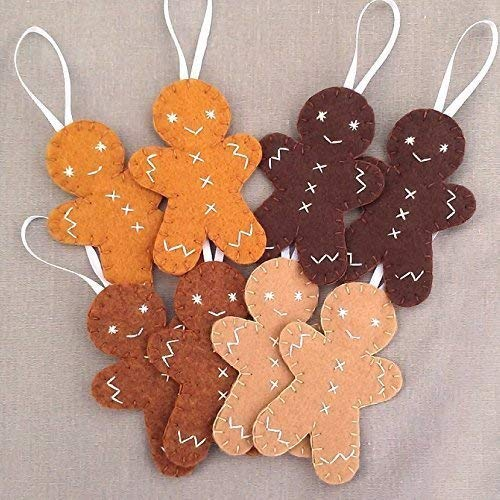 Set of 8 cute gingerbread man ornaments, felt Christmas cookie decorations, felt biscuit with icing